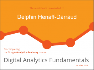 certificat google analytics academy 1ère session